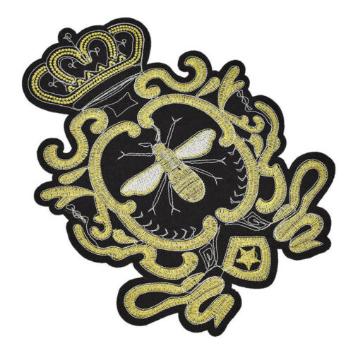 Wreath Gold Sequin Crown Bee Patch Embroidery Applique Clothes Craft Sew On