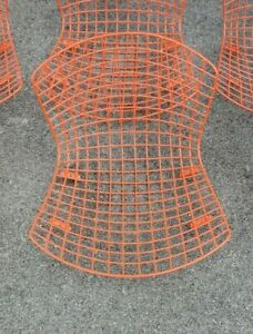 Vtg-Knoll-Harry-Bertoia-AUTHENTIC-Orange-Wire-Seat-Tops-Atomic-Ranch-Eames-Era