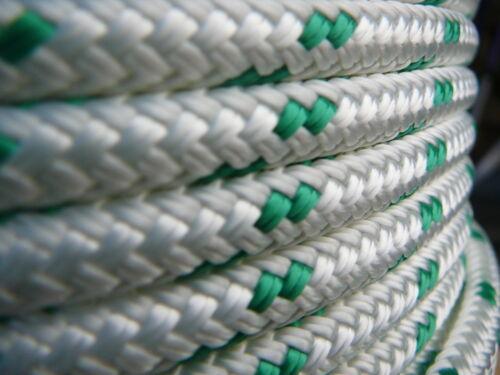 "Dacron Sailboat Rope 5//16/"" x 100/' White//Green NovaTech XLE Halyard Sheet Line"