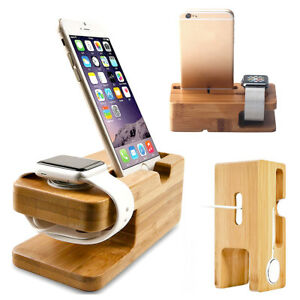 bamboo wood charging station charger dock stand holder apple watch iphone ebay