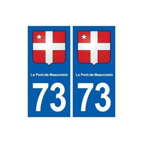 73 Le Pont-de-Beauvoisin blason autocollant plaque immatriculation ville arrondi