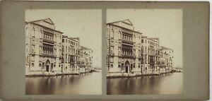 Italia Venezia Grand Canal Palais Foto Stereo Vintage Albumina c1860