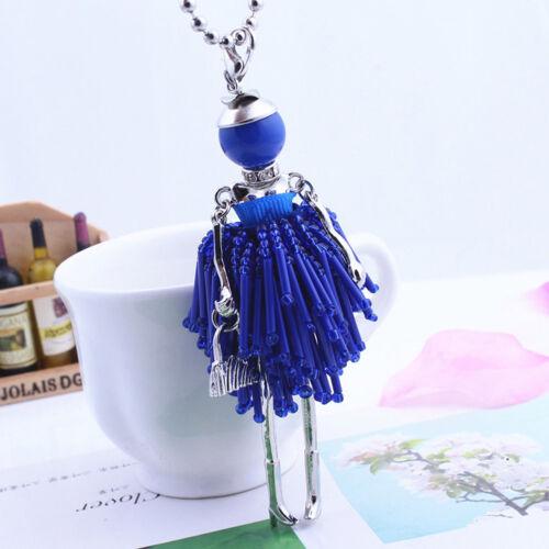 Frauen Pullover Halskette Strass Puppe Mädchen Perlen Kette Anhänger Schmuck