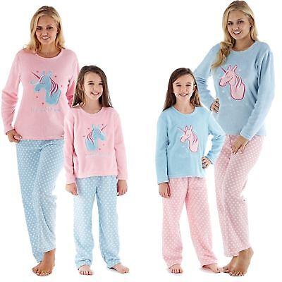Humor Ladies Girls Mum/ Daughter Matching Unicorn Applique Soft Fleece Pyjama Set Gift Schrumpffrei