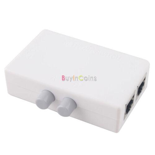 Mini Dual 2 Way Port RJ45 Network Manual Sharing Switch Box Adapter HUB  HF #E