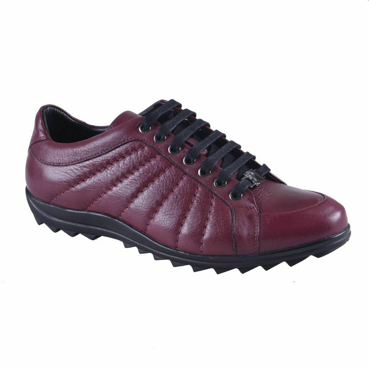 Versace Collection Men's Burgundy Leather Fashion Sneakers shoes 6 7 8 9 10 11