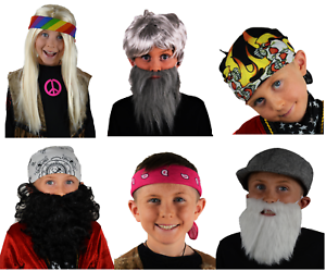 Enfants Robe De Fantaisie. Pirate, Hippie, Perruque, Barbe, Moustache, Bandeaux, Uk-afficher Le Titre D'origine