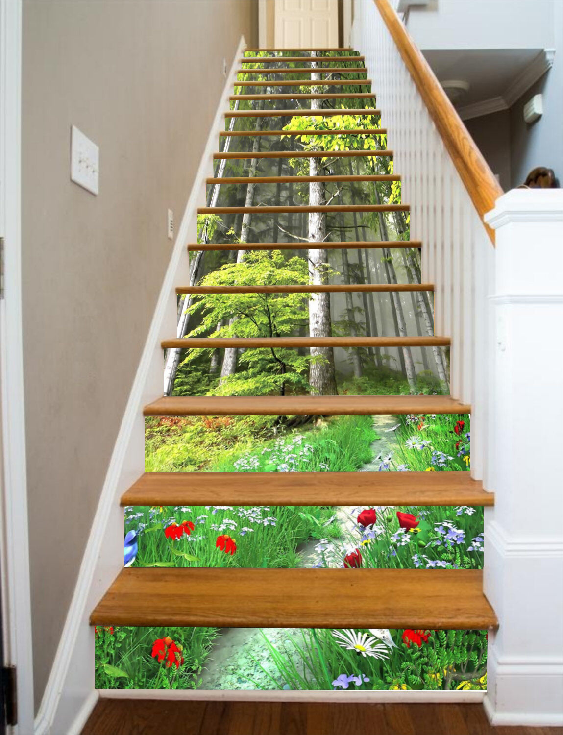 3D Forest, flowers Stair Risers Decoration Photo Mural Vinyl Decal Wallpaper US