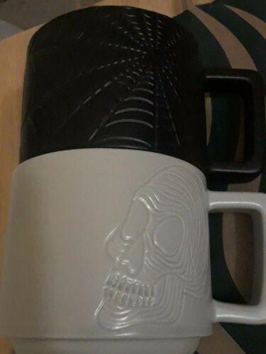 Starbucks LIMITED ED.Halloween Skull and Spider Web Ceramic Coffee Mug Set VHTF