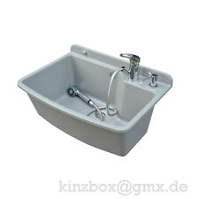 Komplett MAXIMUS WASCHBECKEN 61cm GRAU Ausgussbecken Waschtisch Handwaschbecken