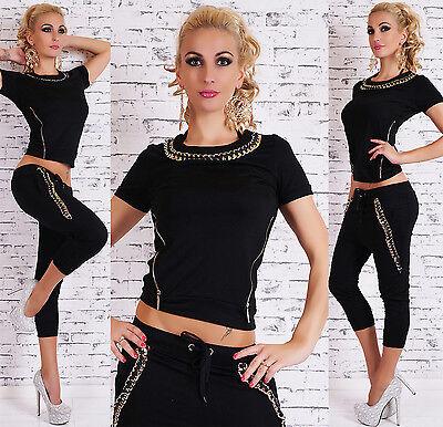 Women's 2PCS Tracksuits Sport Lounge Wear Jogging's Gold Chain Leisure Gym Suit
