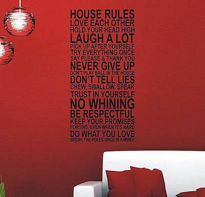 Wall art quote sticker vinyl - Large House Rules #1 - WS1006