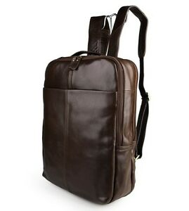 New-Mens-Genuine-leather-Backpack-Rucksack-Travel-bag-Schoolbag