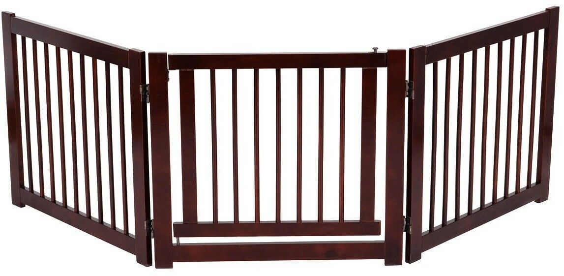 Configurable Folding Indoor Standing 3 Panel Wood Fence Pet Baby Safety Gate New