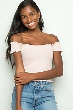 a9104cb0c583 brandy melville Pastel Pink ribbed off shoulder Jessie Thermal Top Nwt XS S
