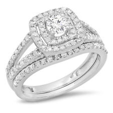 14K White Gold Round Diamond Split Shank Halo Engagement Ring Set 1 CT (Size 9)
