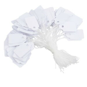 100 x Plain White Strung Price Labels Tie On Tags 21mm x 13mm Gifts & Jewellery