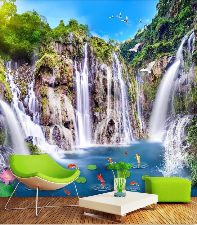 3D Cliff Falls Teich 86 Tapete Wandgemälde Tapete Tapeten Bild Familie DE Summer