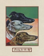 """A 10"""" x 8"""" Art Deco Style Print of Greyhounds Titled """"Ready for the Off"""""""