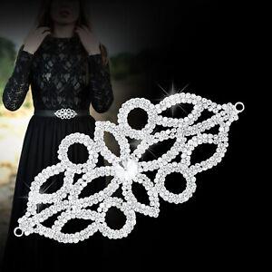 150mmX75mm-Silver-Rhinestone-Diamante-Motif-Sew-on-Wedding-Crystal-Applique