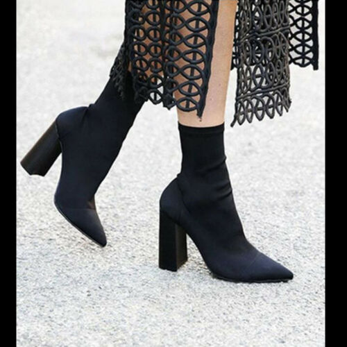 Women Ladies Ankle Boot Sock Fit Slip On Chunky Block Heel Lycra Smart Shoe Size