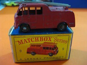 VINTAGE-60-70-S-MATCHBOX-LESNEY-N-9-FIRE-TRUCK
