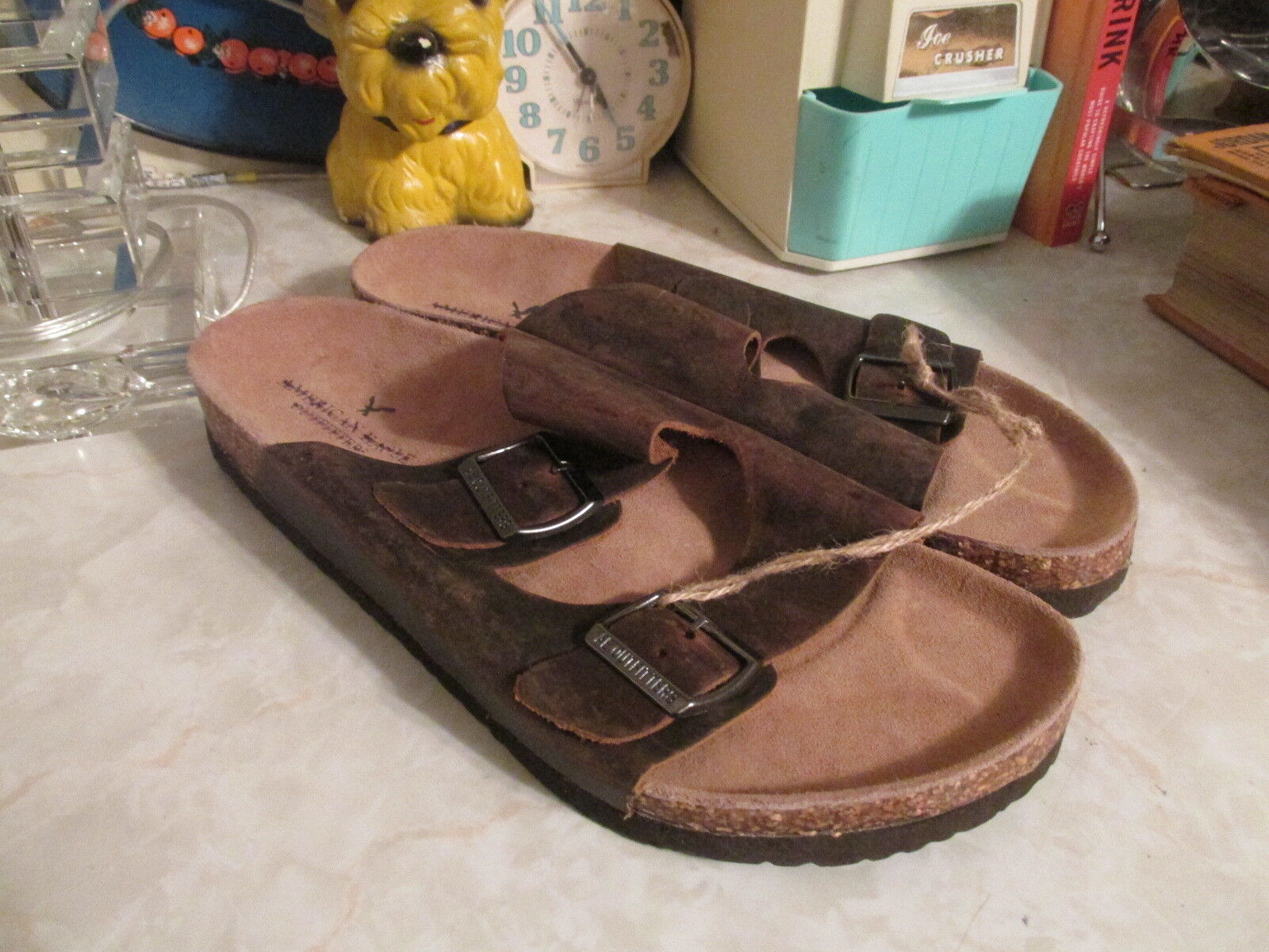 AMERICAN EAGLE OUTFITTERS  DOUBLE BUCKLE Brown Leather  SANDALS SIZE 11