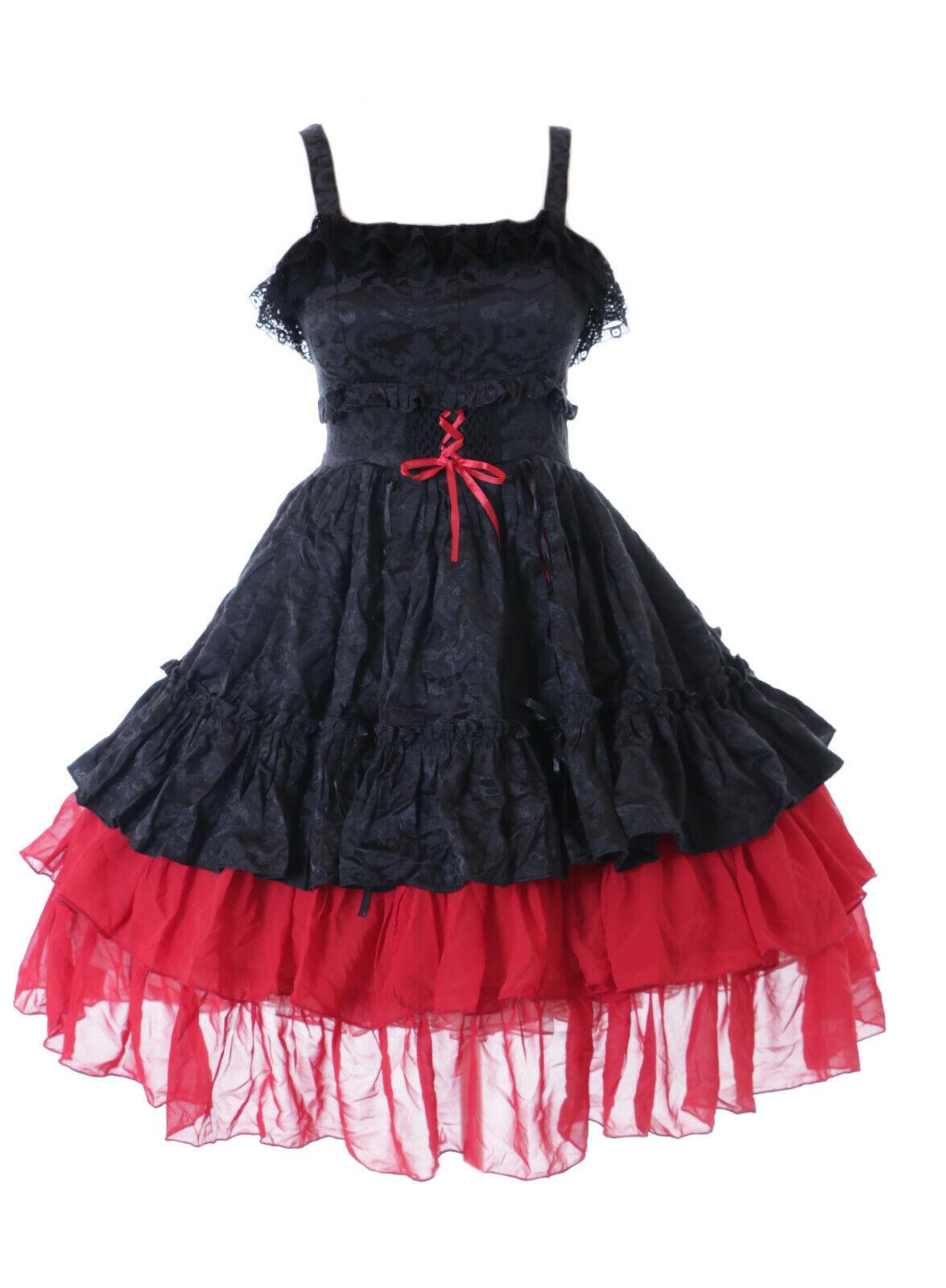 JL-685 Rouge Noir à Volants Robe Mousseline Gothique Lolita Costume Cosplay Fête