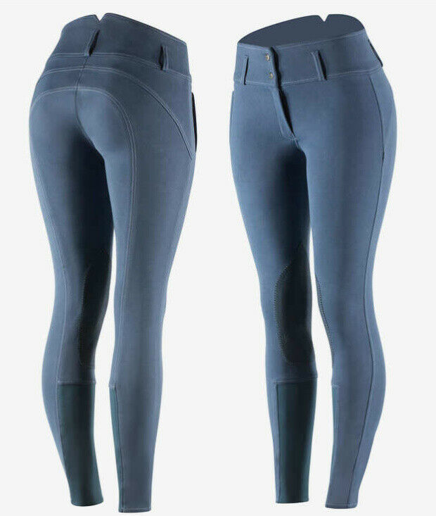 Horze Daniela Womannen's Leer Knee Patch Breeches Imperial Dark blauw