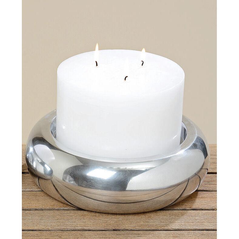 Kerzenteller mit 3-Dochtkerze Aluminium silber - weiß 25cm
