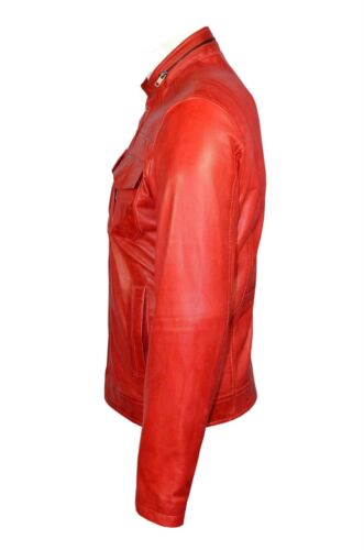 cuero motero estilo de Elegante napa lujo suave chaqueta nuevo rojo casual hombre de xx0qOHvB