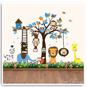 Details About Monkey Wall Stickers Owl Animal Jungle Zoo Tree Nursery Baby Bedroom Decals Art