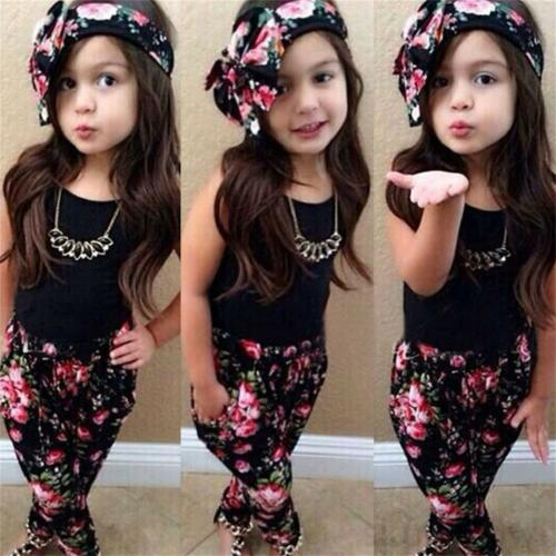 3pcs Kids Baby Girls Tank Tops Vest Pants Headband Fashion Outfits Clothes 2-7Y