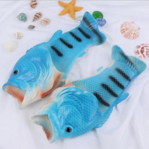 Men Women Novelty Funny Fish Shape Slippers Flip Flop Summer Flat Shoes Lin