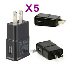 5X 5V USB Power Adapter AC Home Wall Charger US Plug Black For Samsung Galaxy S7