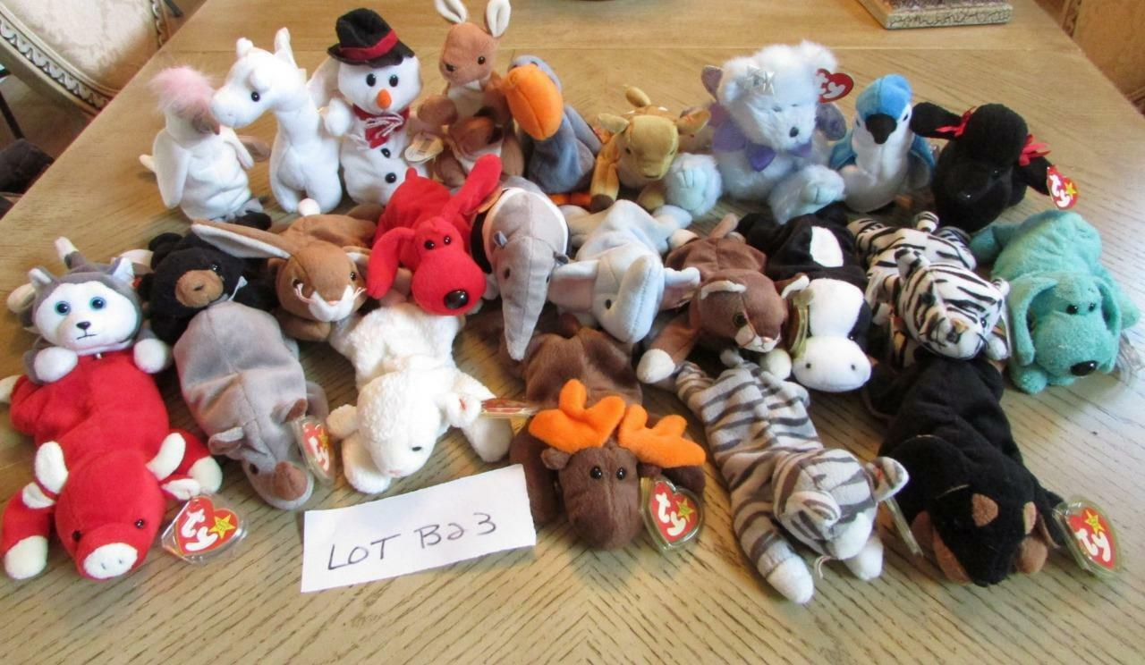LOT OF OF OF 25  HARD TO FIND TY BEANIE BABIES  - EXC - LOT B23 0929d6