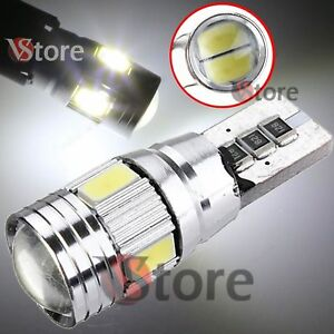 2-Veilleuses-LED-T10-ampoules-6-smd-5630-HID-Canbus-5W-BLANC-ANTI-ERREUR-Lampe