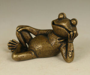 Rare-chinese-Old-Bronze-hand-Casting-Frog-statue-Netsuke-collectable-Figure