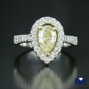 Natural-2-23-Ct-Pear-Cut-Fancy-Yellow-Diamond-Halo-Engagement-Ring-14K-Gold