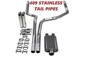 "Dodge Ram 1500 Truck 94-03 2.5/"" Dual Exhaust Kits 2 Chamber Muffler Slash Tips"