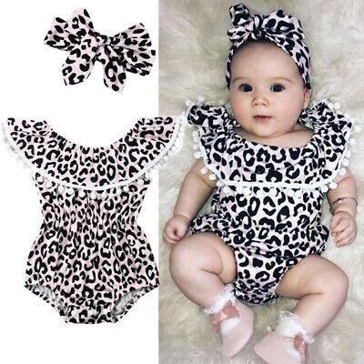 UK 2pcs Newborn Baby Girl Romper Bodysuit Jumpsuit Headband Clothes Outfits Set
