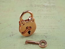 Old Vtg  Antique Style Love Padlock Pendant Mini Padlocks With Key-Rose Gold