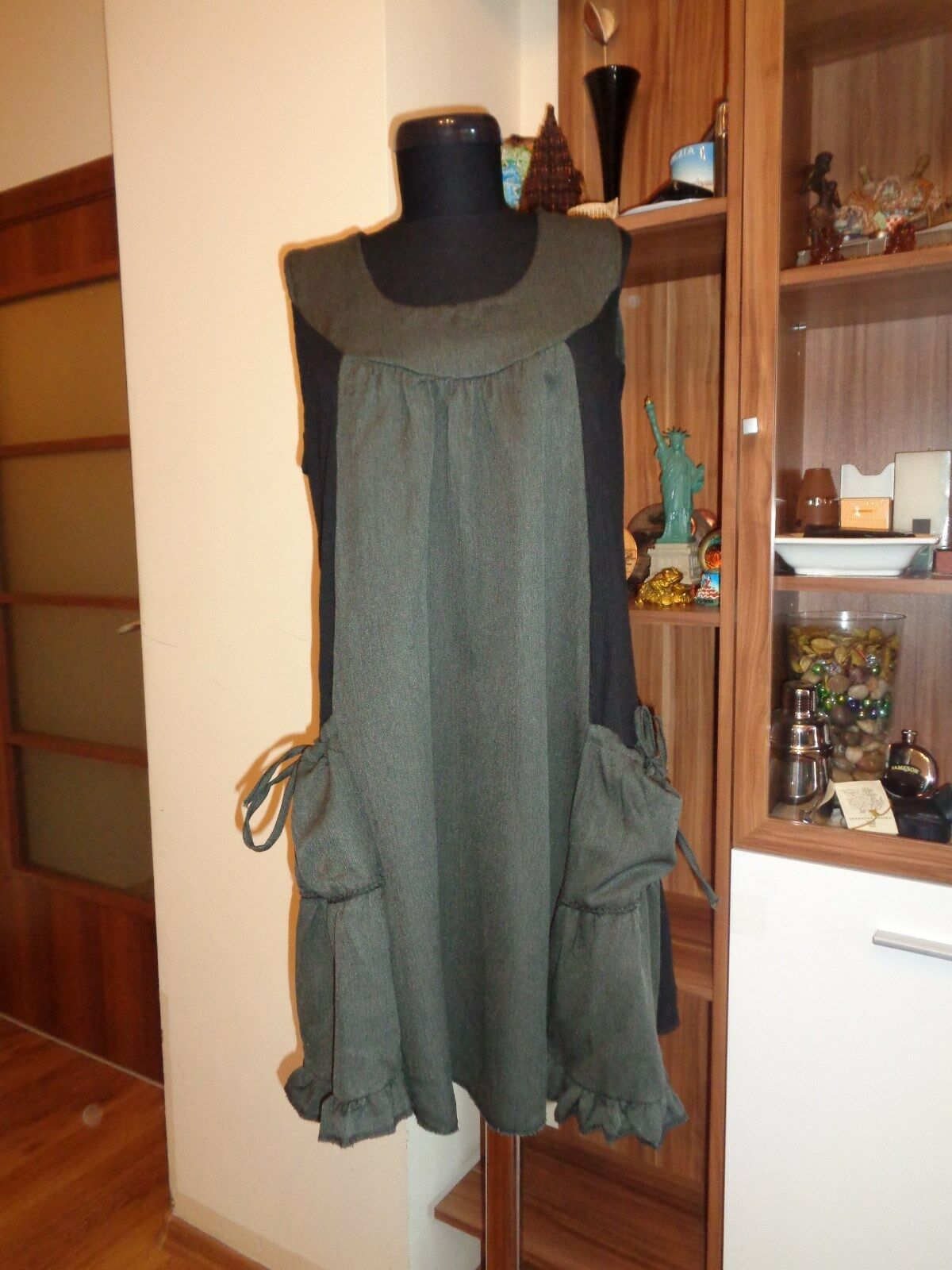 SARAH SANTOS COTTON BLEND PANELED SLOUCHY A-LINE RELAXED TUNIC-SIZE XL