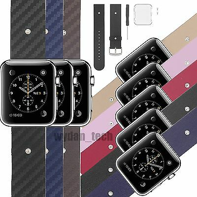 Leather Buckle Wrist Strap Band Belt for iWatch Apple Watch +Clear Case Cover
