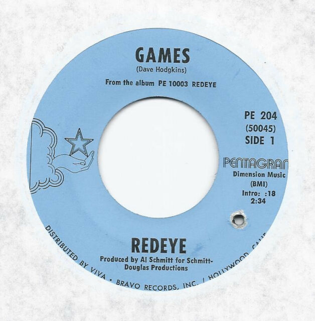 REDEYE * 45 * Games * 1970 #27 * USA * NM ! ORIGINAL on PENTAGRAM * Lost Nugget