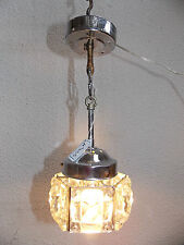 LUSTRE SUSPENSION EN CRISTAL & METAL CHROME ANNÉES 1970-CHANDELIER 70'S-N°335
