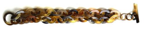 camilieri Horn Büffelhorn Armreif doppelte Armkette Armband natur braun  NEU