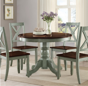 Cool Details About Round Pedestal Dining Table Set 4 Chairs Brown Green Solid Wood Kitchen 42 New Unemploymentrelief Wooden Chair Designs For Living Room Unemploymentrelieforg