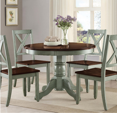Round Pedestal Dining Table Set 4 Chairs Brown Green Solid Wood Kitchen 42\