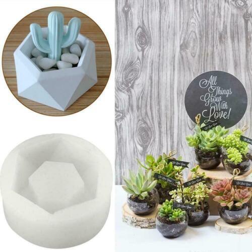 Hexagon Flower Pot Silicone Molds DIY Garden Planter Soap Mould Vase Concre V0R5
